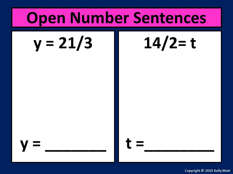 Open Number Sentences y = 21/3 y = _______ 14/2= t t =________