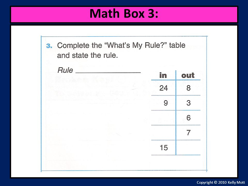 Math Box 3: Copyright © 2010 Kelly Mott