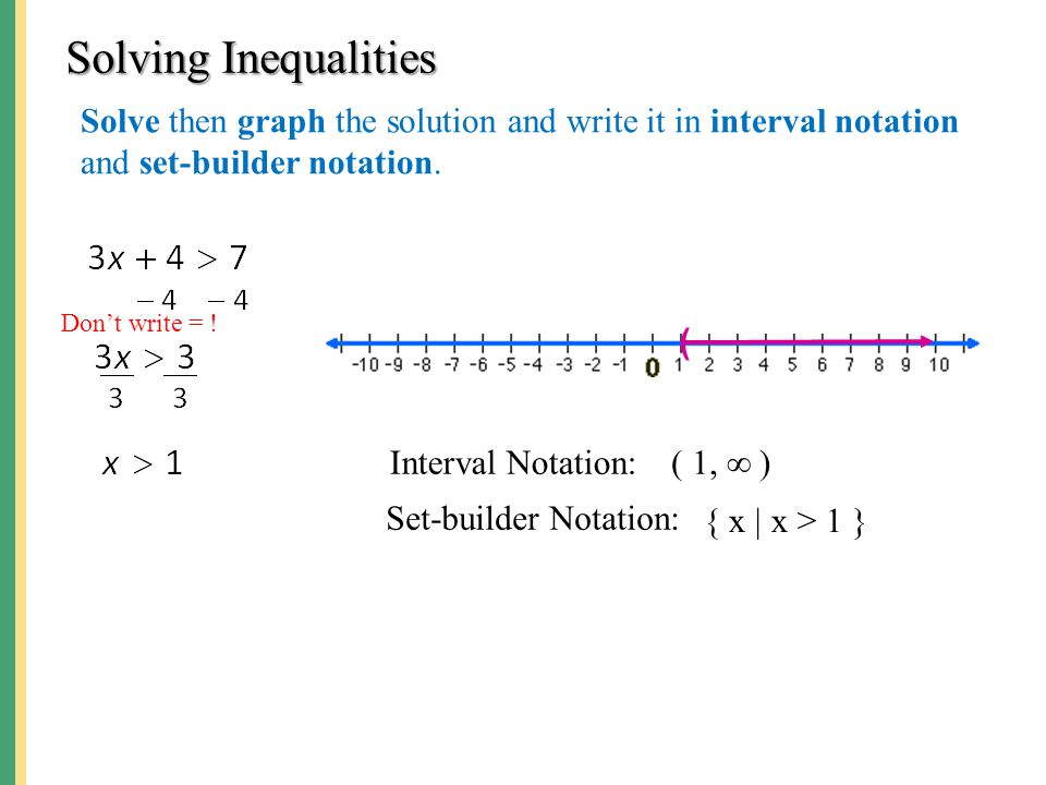 Solving Linear Inequalities ppt video online download – Set Builder Notation Worksheet