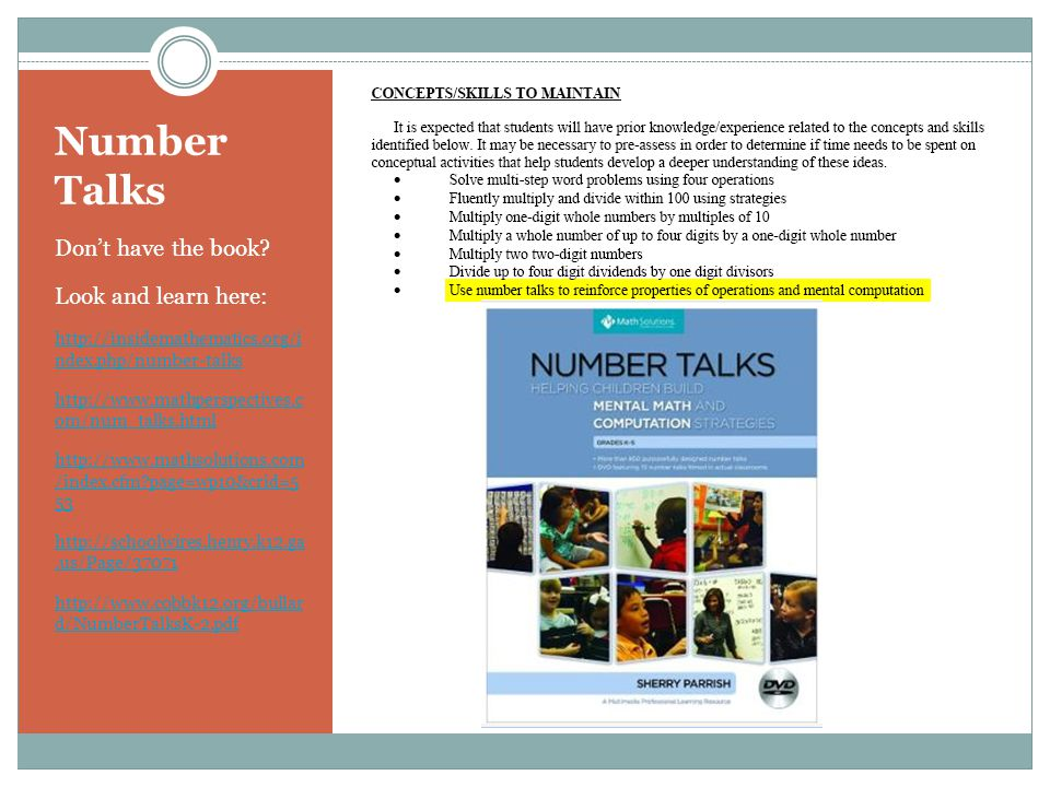 Number Talks Don't have the book Look and learn here: