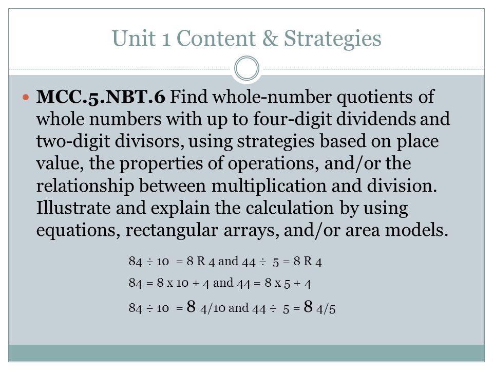 Unit 1 Content & Strategies