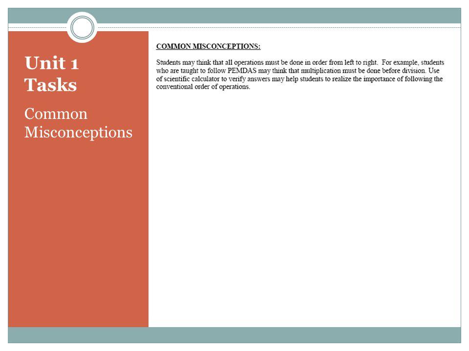 Unit 1 Tasks Common Misconceptions
