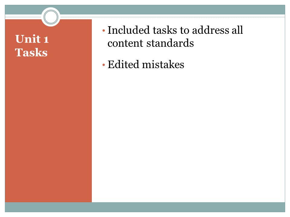 Unit 1 Tasks Included tasks to address all content standards