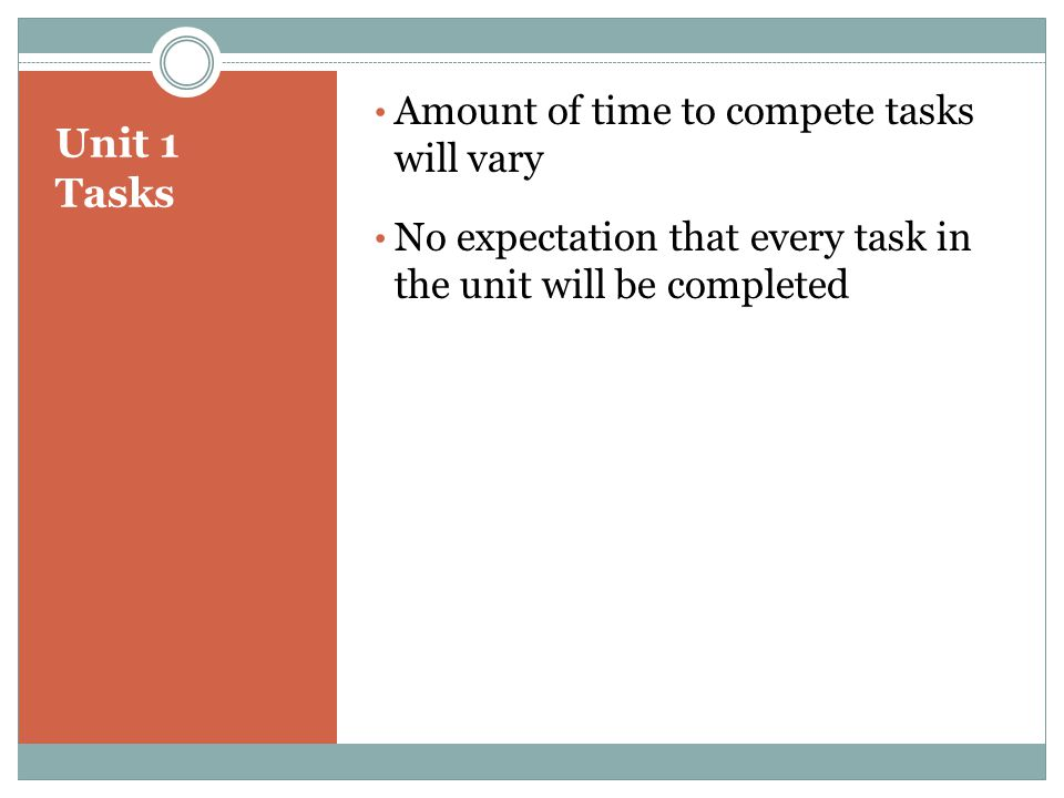 Unit 1 Tasks Amount of time to compete tasks will vary