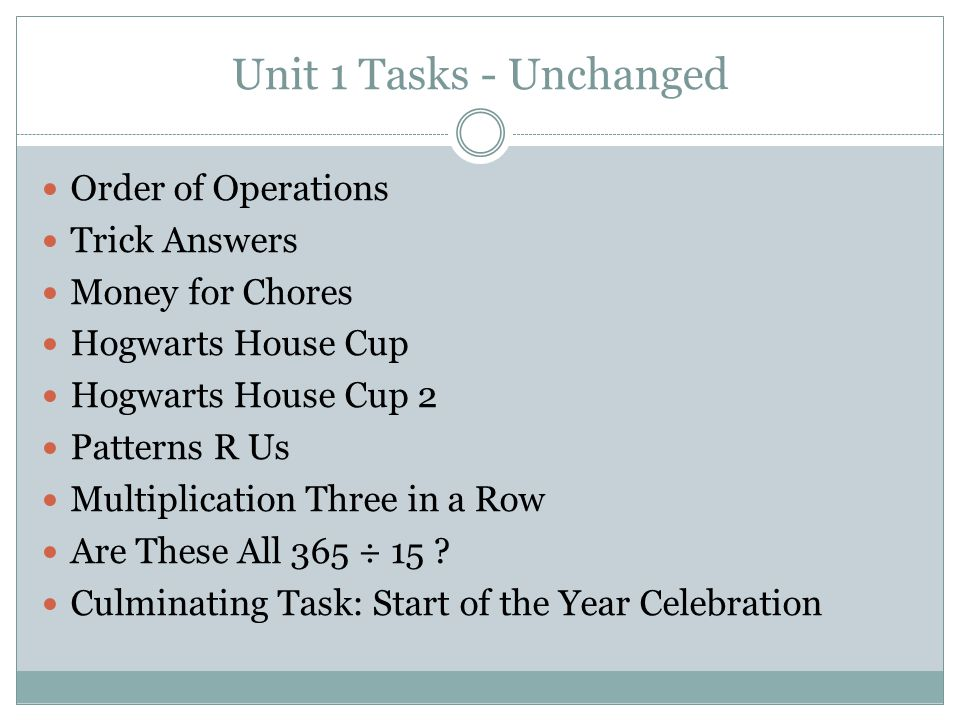 Unit 1 Tasks - Unchanged Order of Operations Trick Answers