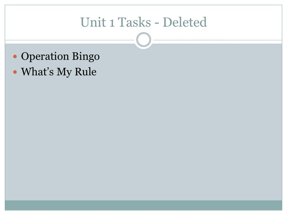 Unit 1 Tasks - Deleted Operation Bingo What's My Rule