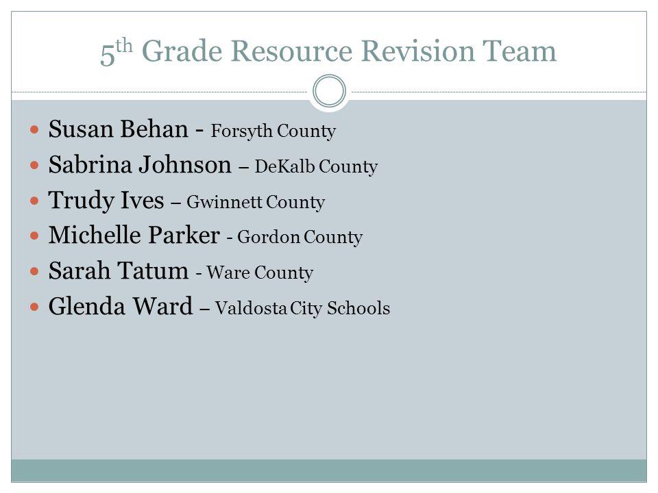 5th Grade Resource Revision Team
