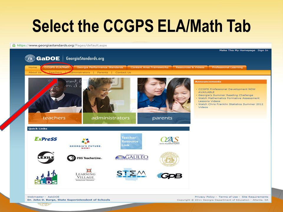 Select the CCGPS ELA/Math Tab