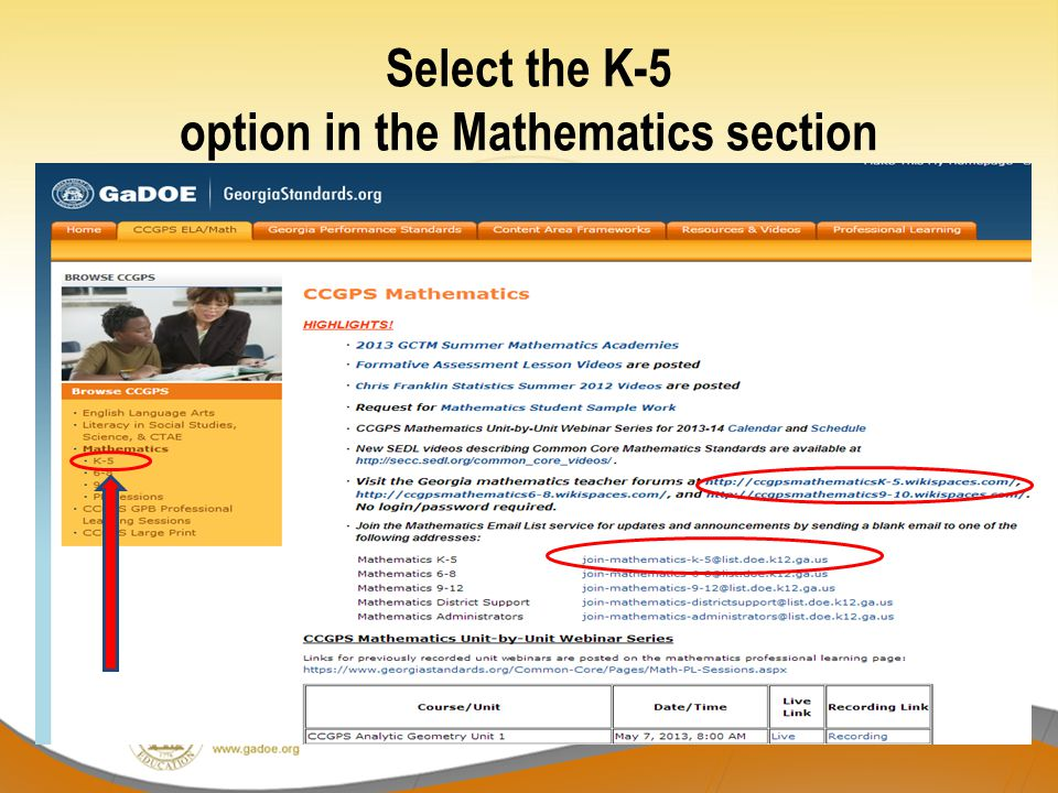 Select the K-5 option in the Mathematics section
