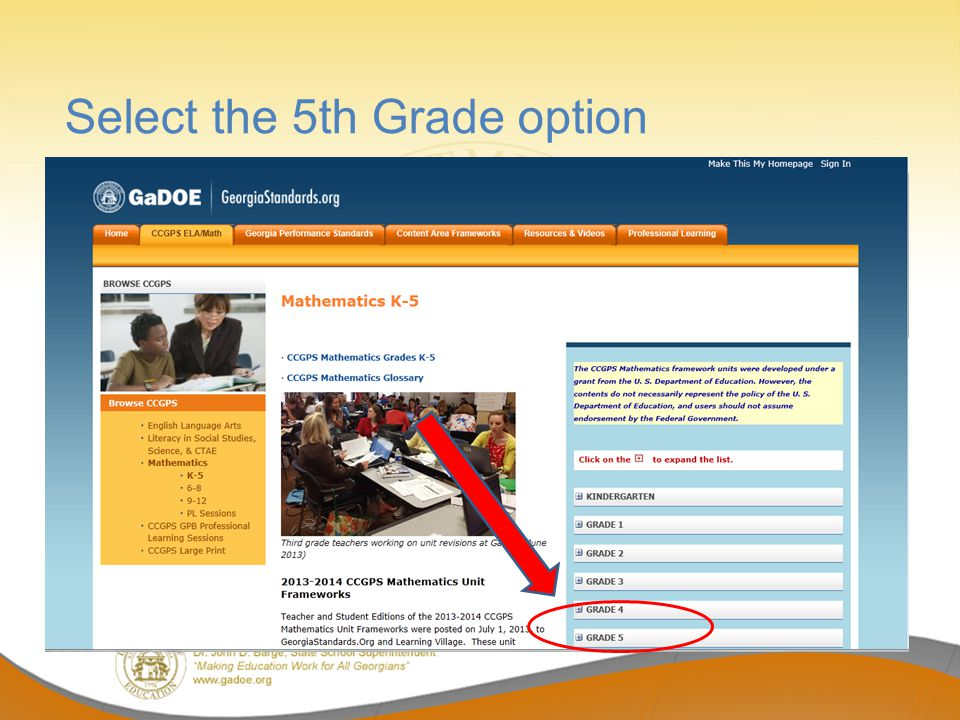Select the 5th Grade option