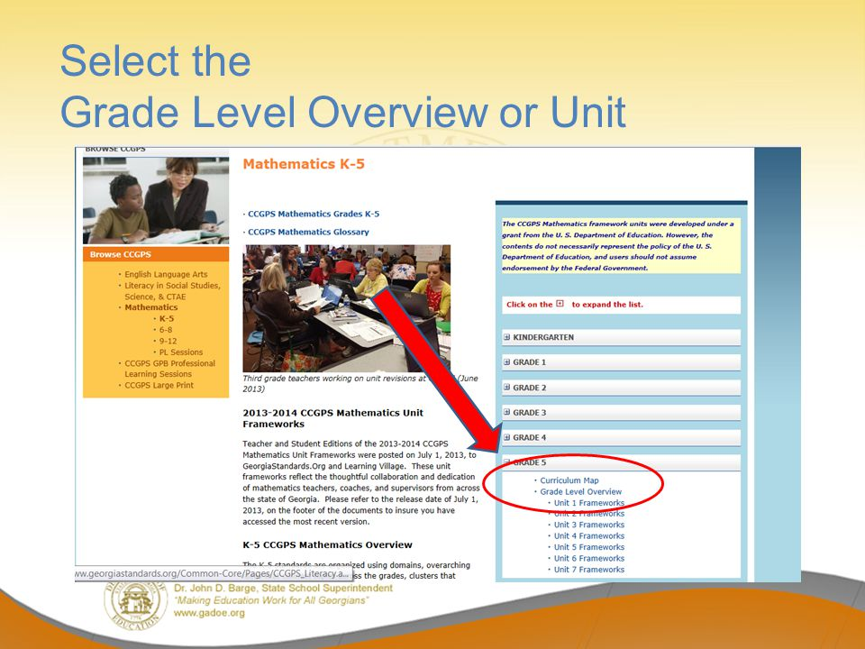 Select the Grade Level Overview or Unit