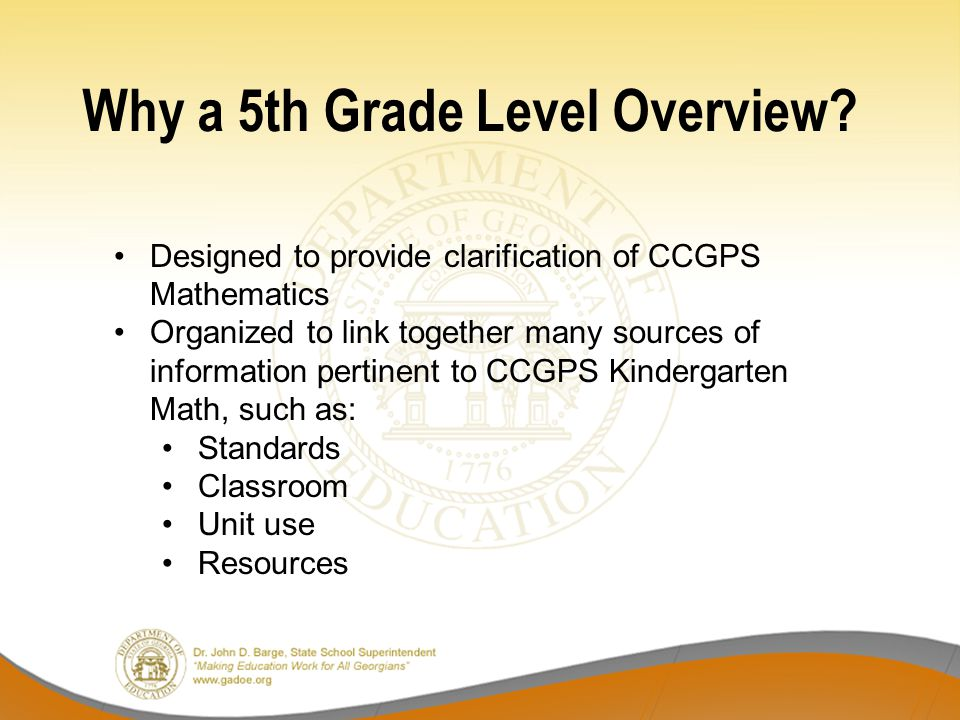Why a 5th Grade Level Overview