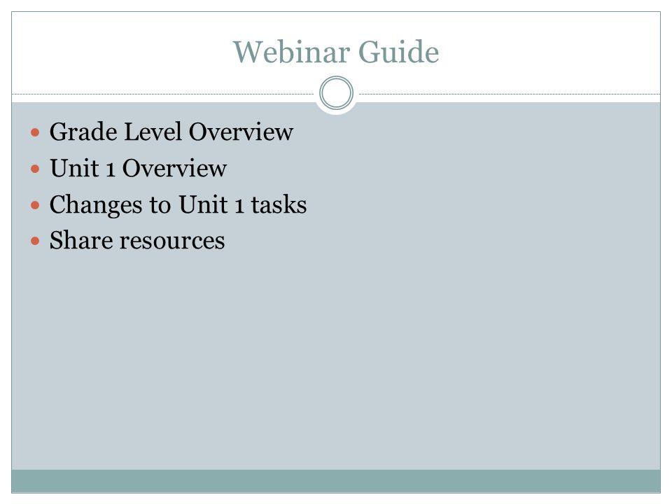 Webinar Guide Grade Level Overview Unit 1 Overview