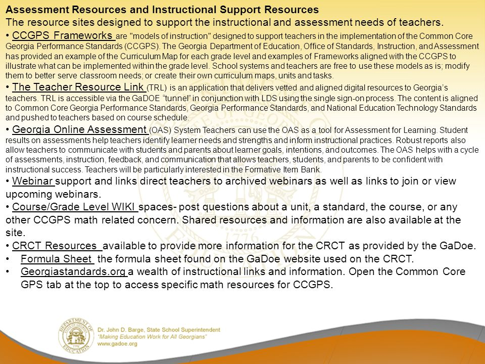 Assessment Resources and Instructional Support Resources