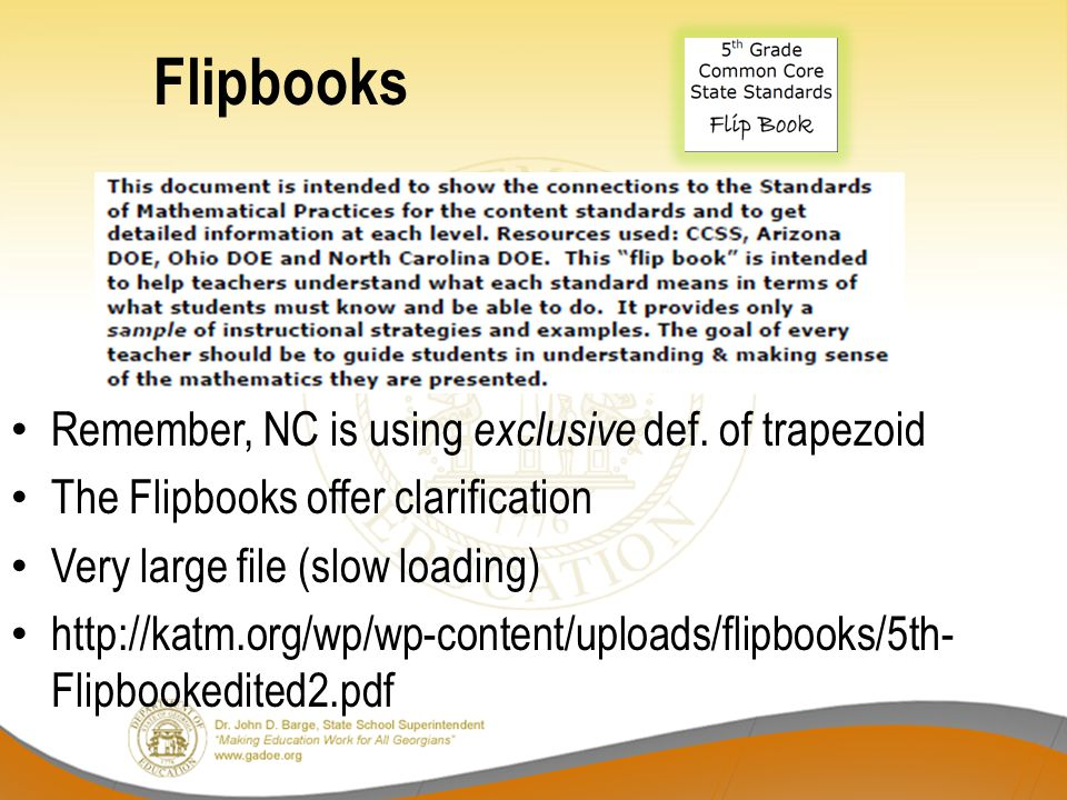 Flipbooks Remember, NC is using exclusive def. of trapezoid