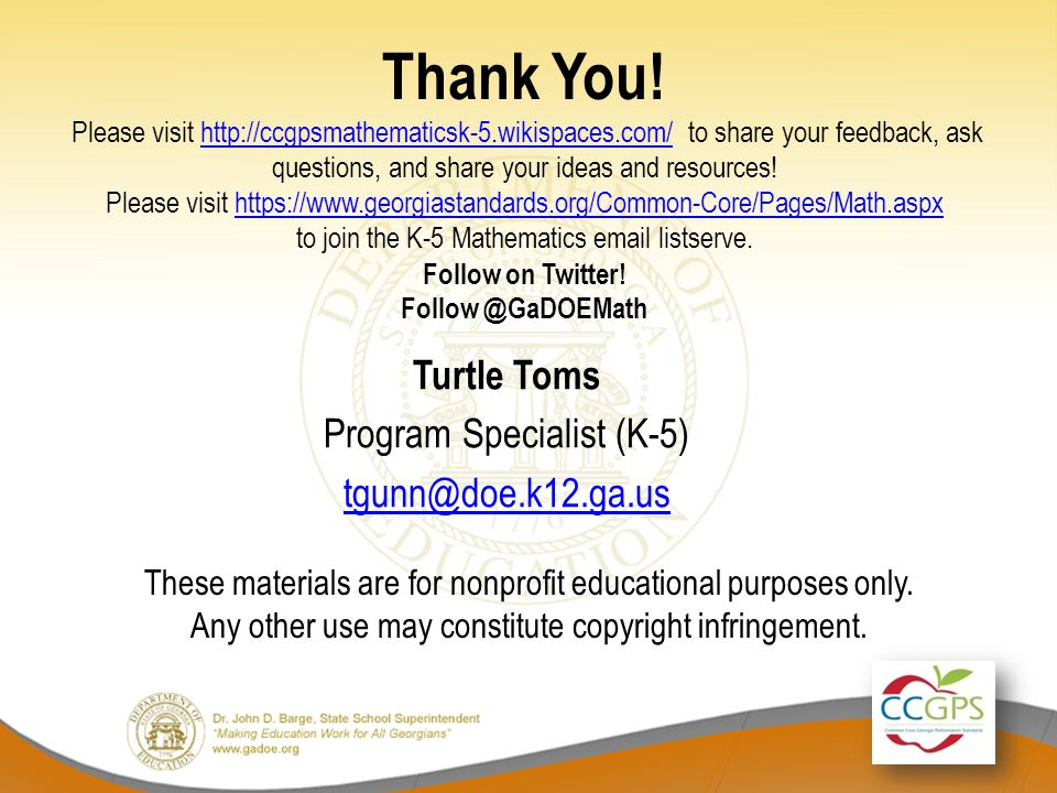Turtle Toms Program Specialist (K-5) tgunn@doe.k12.ga.us
