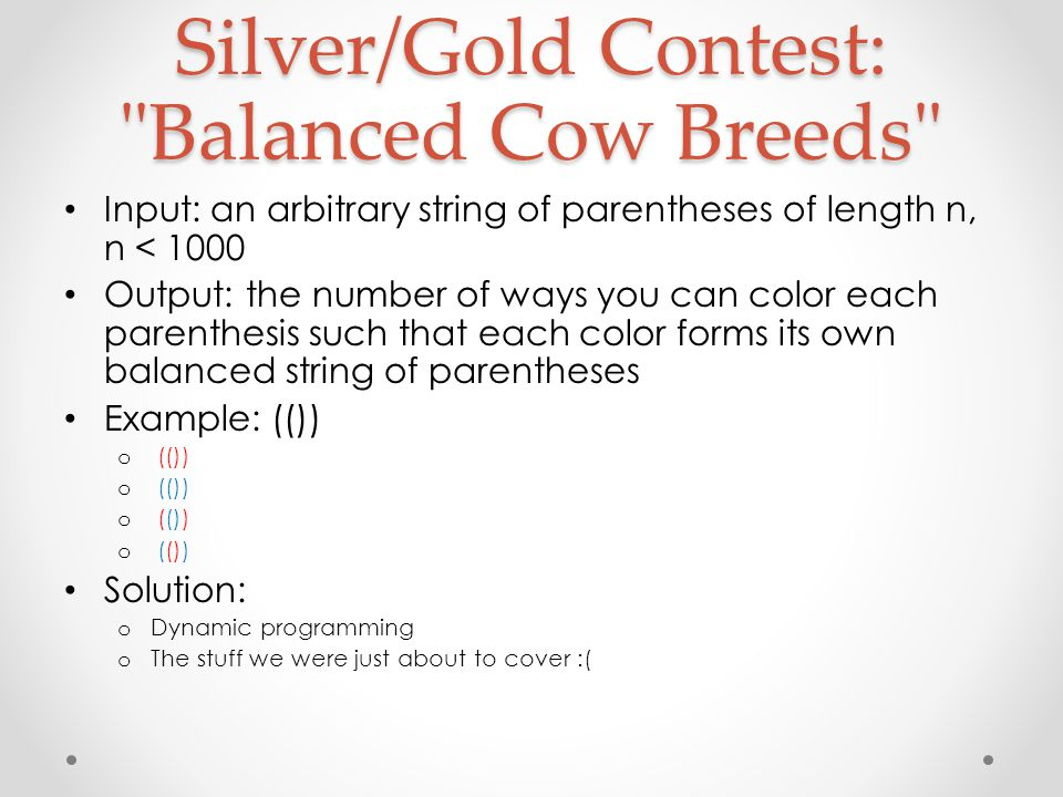 Silver/Gold Contest: Balanced Cow Breeds