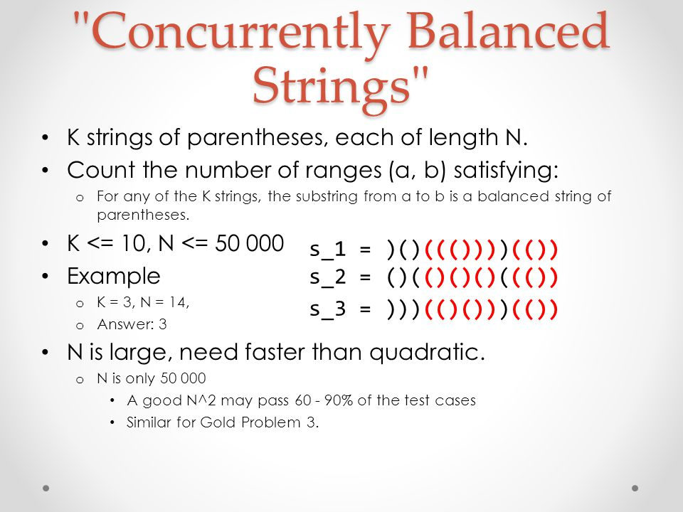 Concurrently Balanced Strings