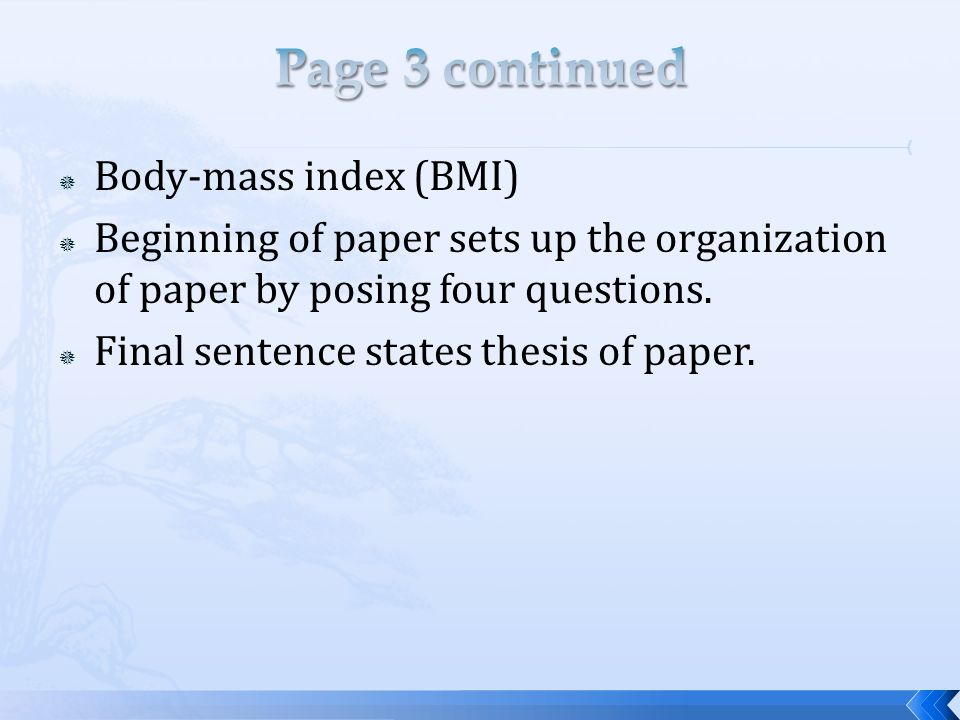 Page 3 continued Body-mass index (BMI)
