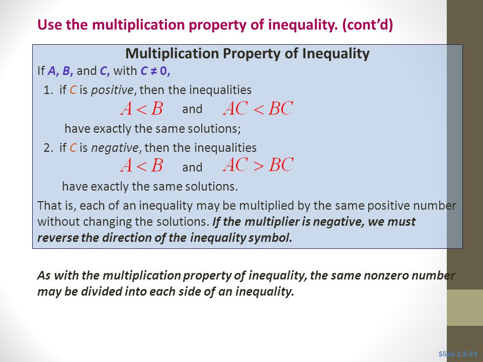 Multiplication Property of Inequality