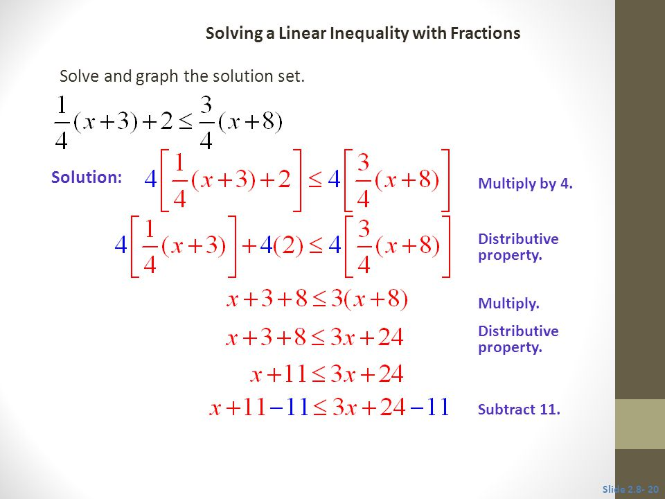 2 8 solving linear inequalities ppt video online download. Black Bedroom Furniture Sets. Home Design Ideas