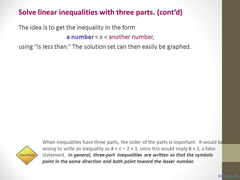 Solve linear inequalities with three parts. (cont'd)