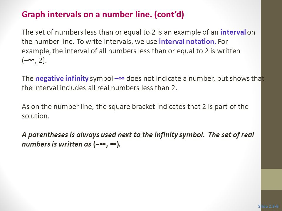 Graph intervals on a number line. (cont'd)