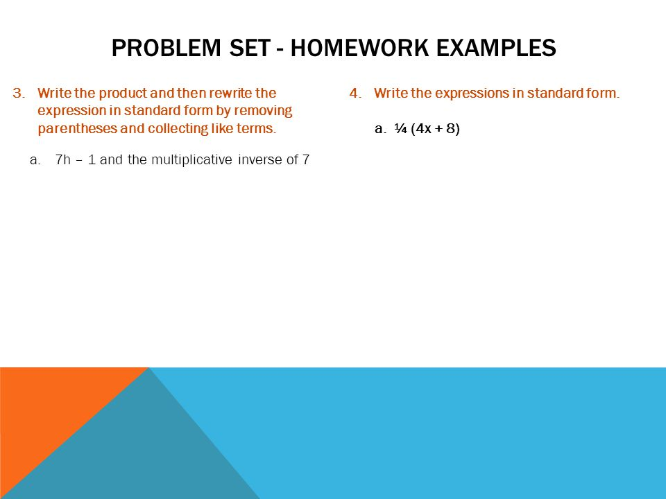 Problem set - homework examples