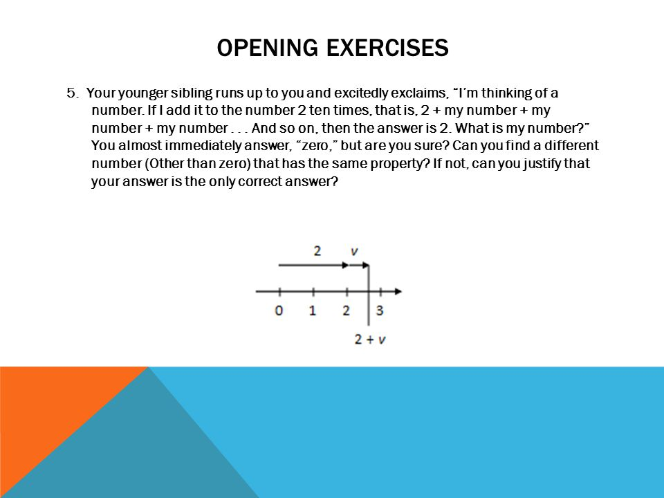 Opening exercises