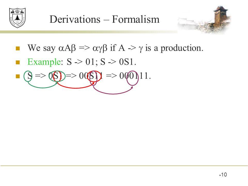 Derivations – Formalism