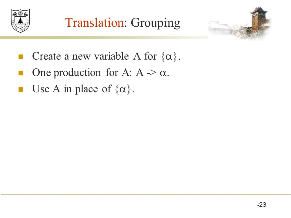 Translation: Grouping