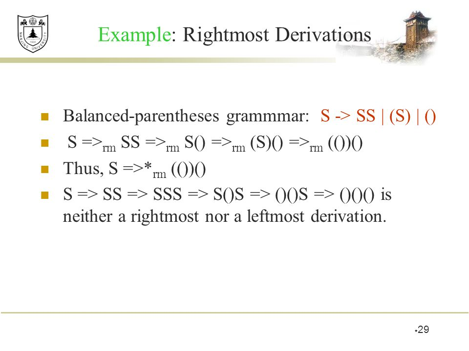 Example: Rightmost Derivations