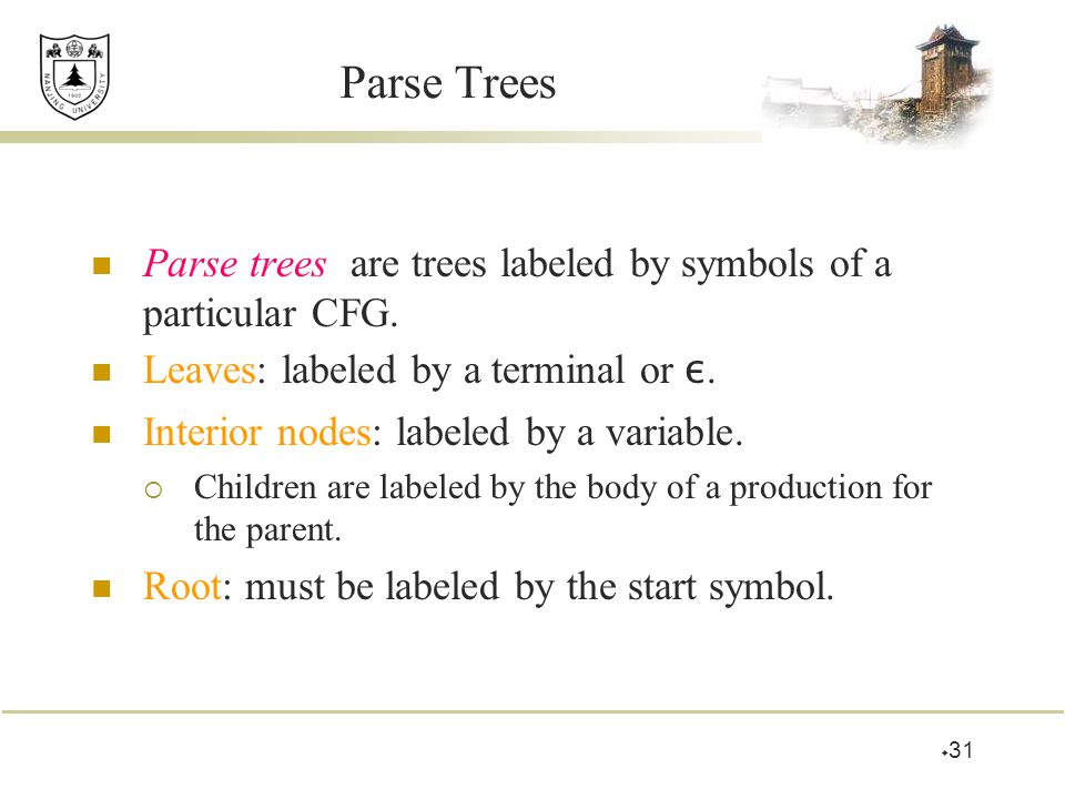 Parse Trees Parse trees are trees labeled by symbols of a particular CFG. Leaves: labeled by a terminal or ε.