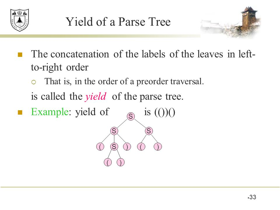 Yield of a Parse Tree The concatenation of the labels of the leaves in left-to-right order. That is, in the order of a preorder traversal.