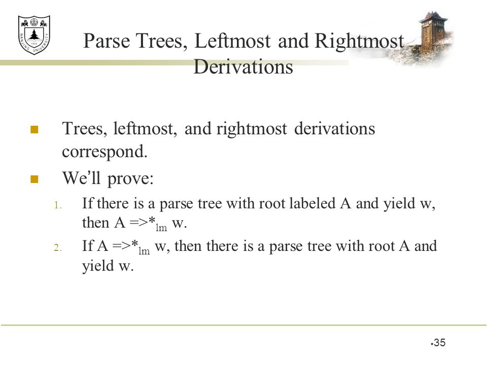 Parse Trees, Leftmost and Rightmost Derivations