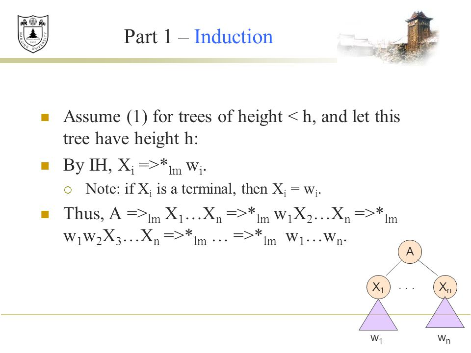 Part 1 – Induction Assume (1) for trees of height < h, and let this tree have height h: By IH, Xi =>*lm wi.