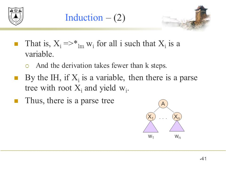Induction – (2) That is, Xi =>*lm wi for all i such that Xi is a variable. And the derivation takes fewer than k steps.