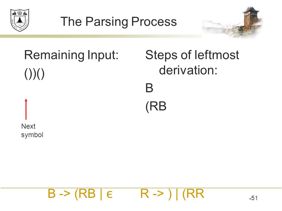 Steps of leftmost derivation: B (RB