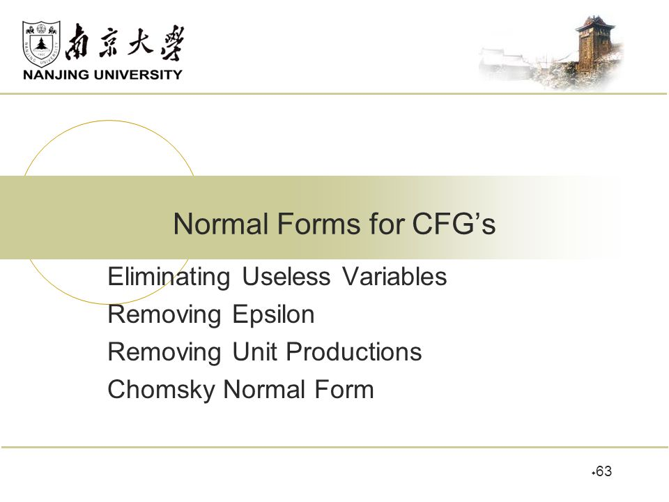 Normal Forms for CFG's Eliminating Useless Variables Removing Epsilon