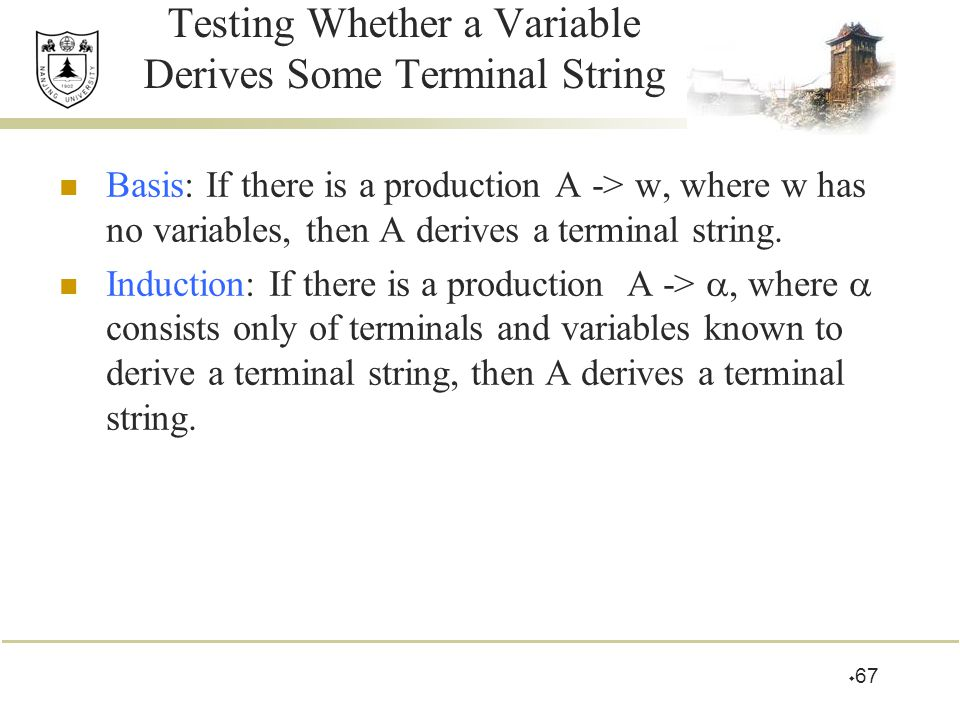 Testing Whether a Variable Derives Some Terminal String