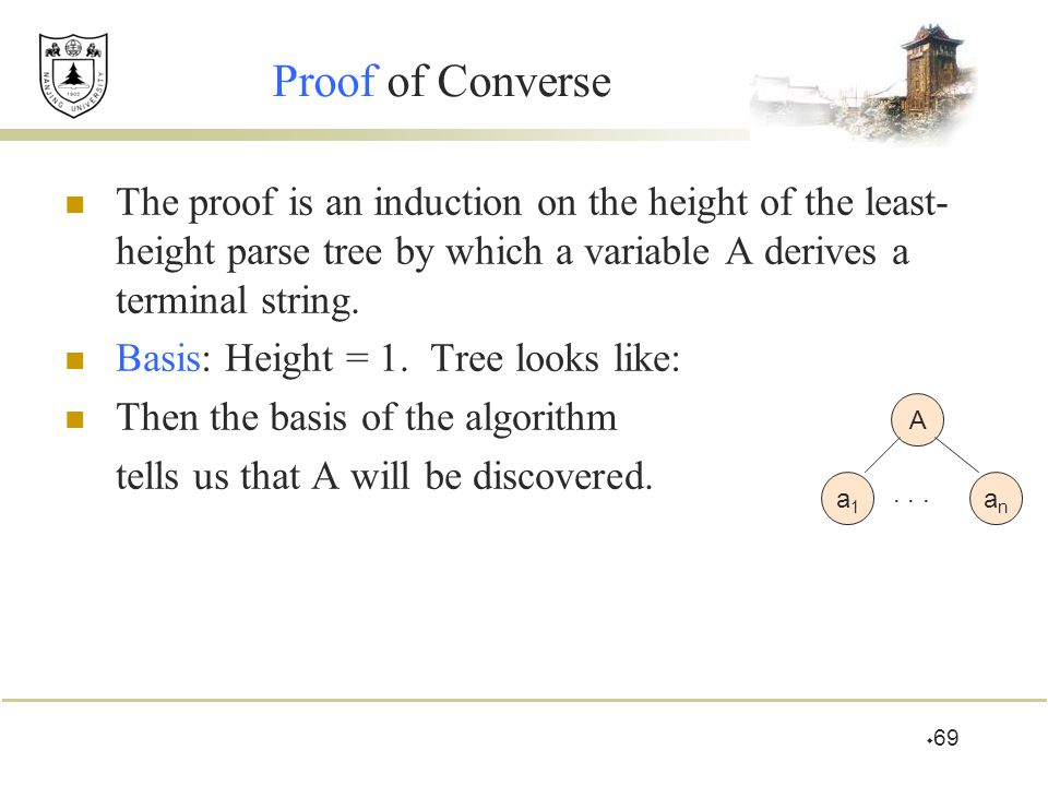 Proof of Converse The proof is an induction on the height of the least-height parse tree by which a variable A derives a terminal string.