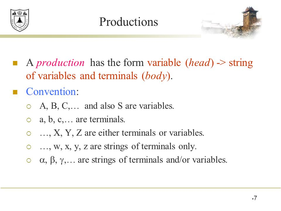 Productions A production has the form variable (head) -> string of variables and terminals (body).