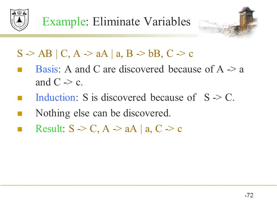 Example: Eliminate Variables