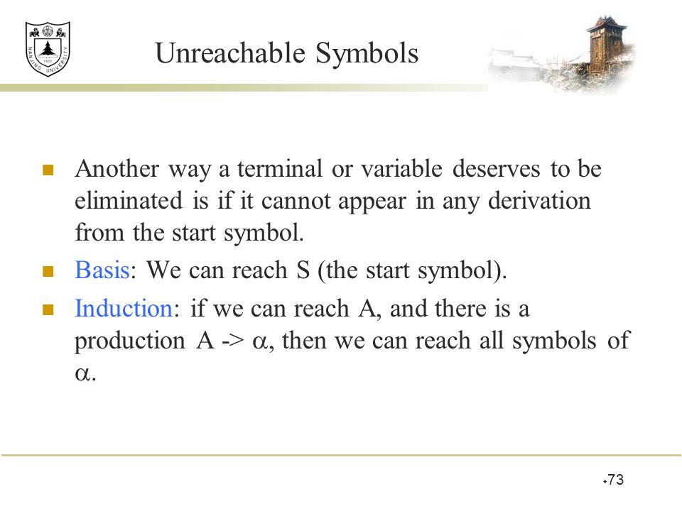 Unreachable Symbols Another way a terminal or variable deserves to be eliminated is if it cannot appear in any derivation from the start symbol.