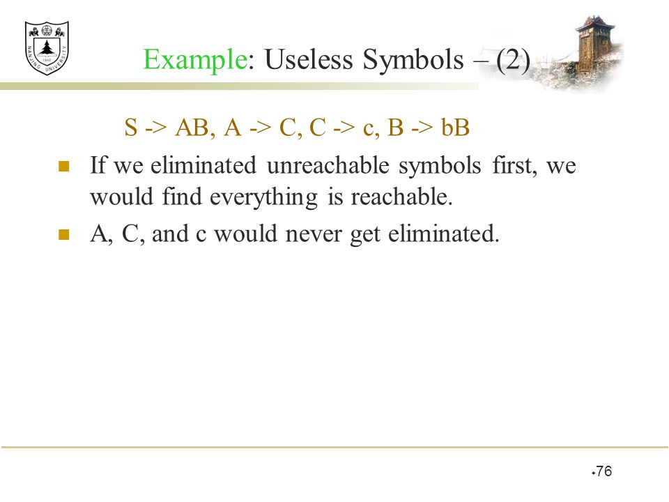 Example: Useless Symbols – (2)
