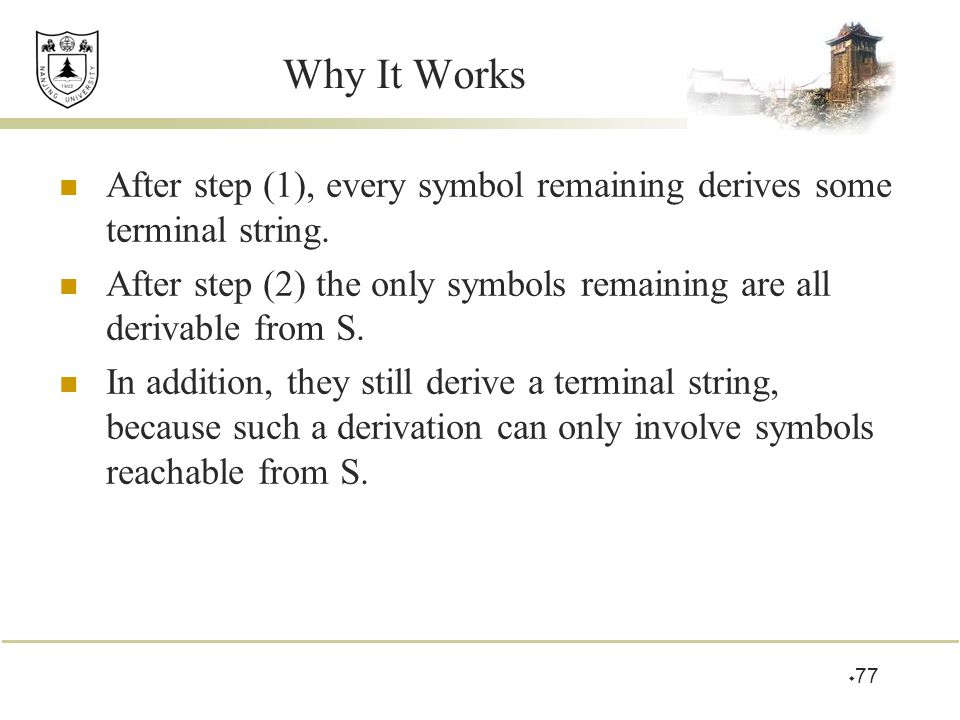 Why It Works After step (1), every symbol remaining derives some terminal string.