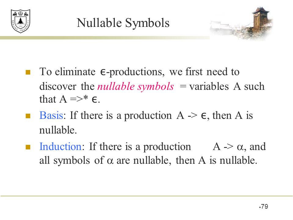 Nullable Symbols To eliminate ε-productions, we first need to discover the nullable symbols = variables A such that A =>* ε.