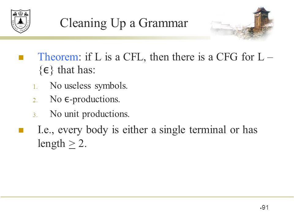 Cleaning Up a Grammar Theorem: if L is a CFL, then there is a CFG for L – {ε} that has: No useless symbols.
