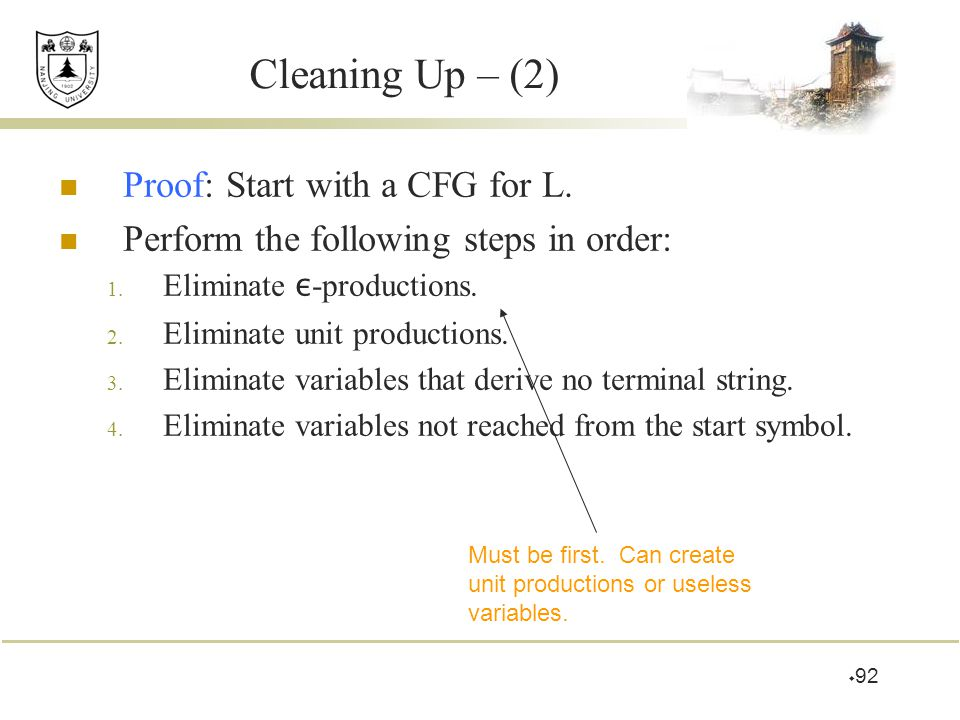 Cleaning Up – (2) Proof: Start with a CFG for L.