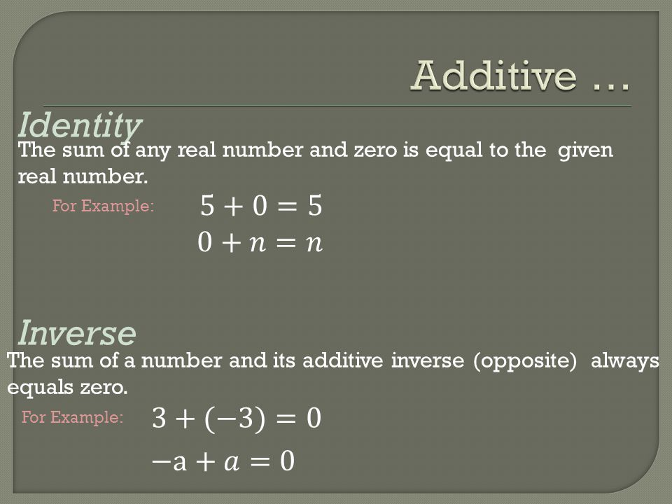 Additive … Identity Inverse 5+0=5 0+𝑛=𝑛 3+(−3)=0 −a+𝑎=0